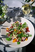 Duck breast, pomegranate seed and Thai basil salad