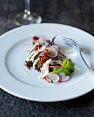 Anchovy salad with radishes