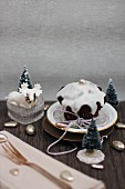 Chocolate muffin with icing for Christmas