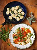 Gnocchi with sage butter and gnocchi with tomato sauce