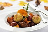 Venison ragout with baked semolina dumplings and chanterelles