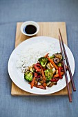 Vegetables with rice and soy sauce (Asia)