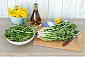 Fresh dandelions and olive oil