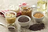 Mustard seeds and mustard sauce