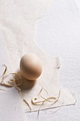 An egg with straw on paper