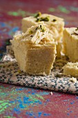 Soan papdi (sweet made from gram flour with almonds and pistachios, India)