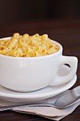 Macaroni and Cheese in a Large White Mug