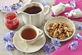 Chicory tea, jam and sweet baked treats