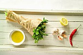 Herbs, chilli, garlic, lemon and olive oil