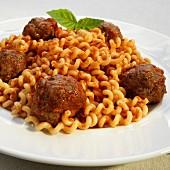 Meatballs in Marinara Sauce over Fusilli Col Buco Pasta