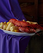 Boiled Lobster with Corn Cobs