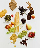 Assorted breads, crackers, fruit and vegetables