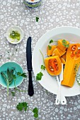 Butternut squash and herbs