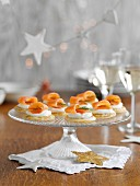 Blinis with smoked salmon and dill, for Christmas