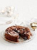 Sunken chocolate cake with cherries