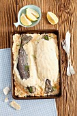 Trout in a salt crust with lemons