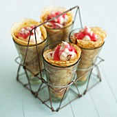 Pancake wraps with strawberry mousse