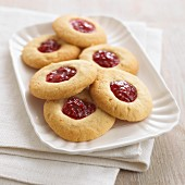 Raspberry Jam Dessert Bars on a Polk-a-Dot Plate