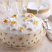 Christmas cake decorated with stars