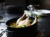 Hühnersuppe im Kochtopf