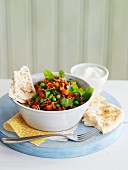 Keema curry with ground lamb and peas (India)