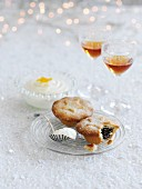 Mince pies with cream and liqueur for Christmas