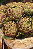 Artichokes in a basket at the market