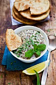Lentil soup with lemon and mint