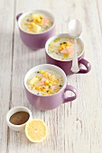 Soup with salmon, potatoes and sweetcorn