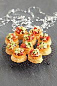 Vol au vents with avocado and tomatoes