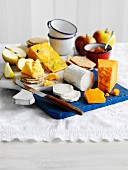 Cheeseboard with crackers and apples