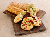 Herb baguettes and pizza rolls