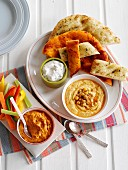 Houmous with crudités and flatbread