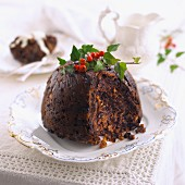 Christmas pudding, with a slice removed