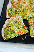 Wild garlic flat bread pizza with diced peppers