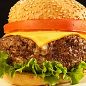 Cheeseburger with Tomato and Lettuce on a Sesame Seed Bun