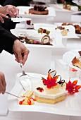 White peach cake at a dessert buffet