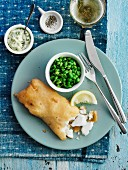 Beer batter cod with peas and tartar sauce