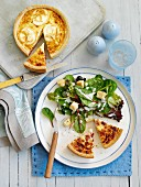 Quiche with green salad and croutons