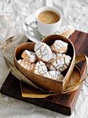 Ricciarelli (almond biscuits, Italy) and espresso