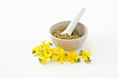 St. John's wort flowers and a mortar with dried herbs