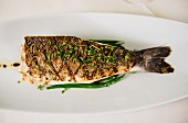 Grilled fish with herbes de Provence and fresh sliced chives