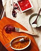 Yoghurt Dill, Spicy plum sauce, Mango chutney, Strawberry glaze and Mulberry galze
