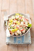 Surimi salad with celery and mayonnaise