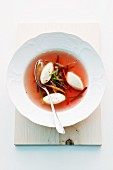 Bouillon with horseradish & quark dumplings