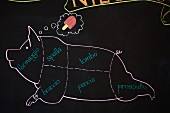 A drawing of a pig on a blackboard with cuts labelled in Italian