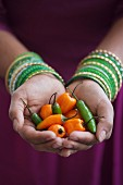 Hands Holding Green and Orange Chili Peppers