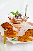 Fried pumpkin cakes with cheese cream