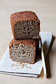 Quinoa bread with buckwheat, cut in half