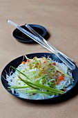 Rice noodles with beansprouts and sesame seeds (Asia)